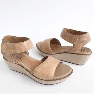 Clarks Tan Snake Embossed Wedge Platform Sandals